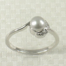 Solid Silver .925 w/ Crescent Cubic Zirconia Silver Tone Cultured Pearl Ring TPJ