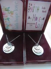 STUNNING SILVER FAITH HOPE LOVE SENTIMENT DISC PENDANT NECKLACE GIFT BOXED + FP