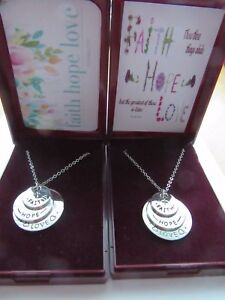 STUNNING SILVER FAITH HOPE LOVE SENTIMENT DISC PENDANT NECKLACE GIFT BOXED GIFT
