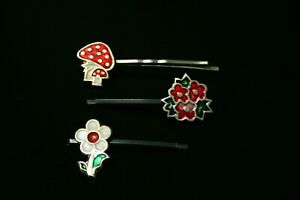 Hair pin set, 70s USSR hair jewelry, flower hair pin