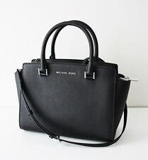 Michael Kors Bag Selma Medium Tz Satchel Saffiano Leather Black Silver