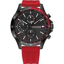 Tommy Hilfiger 1791722 Herren Bank Rot Silikon Armbanduhr