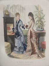 GRAVURE EN COULEUR 19è MODE ILLUSTREE 1877 N° 15 TOILETTES MADAME BREANT CASTEL