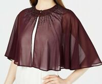 Calvin Klein Womens Embellished Cape Purple Size Large L Chiffon Jacket $99 002