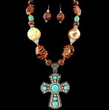 Western Cowgirl Brown Chunky Bead Rhinestone Cross Pendant Necklace Earring