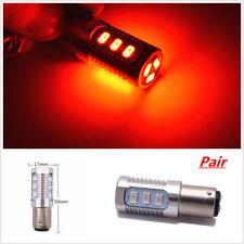 Pair 1157 LED Red Flash Strobe Blinking Alert Safety Brake Tail Stop Light Bulbs