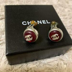 Auth Vintage CHANEL Silver CC Logo Red stone Clip On Earrings Used fm Japan F/S