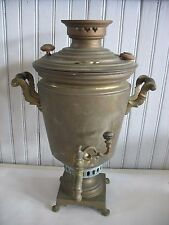 Vintage 19th Century Brass Russian Samovar With Tsar Stamps and Company Mark