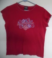 Harley-Davidson Red Bed ford Texas Short Sleeve Top Size L