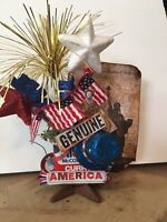 Tiered Tray Decor Patriotic On Vintage Spice Tin And Rusted Architectural Star