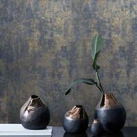 Wallpaper rustic navy blue gray gold Plain Textured modern faux Concrete plaster
