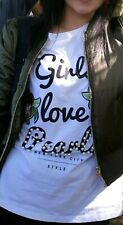 Primark White T-shirt With Floral Embroidery And Faux Pearls UK Size 8 EUR36
