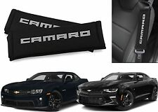 Black & Silver Camaro Logo Seat Belt Shoulder Pad Cushions New Free Shipping USA