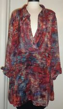 4X 30/32W Catherines Womens Plus Size Red Orange Teal Black Chiffon Blouse