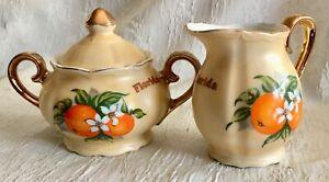 Vtg Porcelain Sugar Bowl with Lid and Matching Creamer Souvenir Florida Oranges
