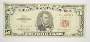 *Star* 1963 Red Seal $5.00 United States Note - ERROR Replacement *226