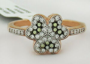 PERIDOT & WHITE SAPPHIRE RING .925 SILVER ** New With Tag ** Size 7