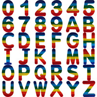 Rainbow Letter Number Iron Sew On Patches Badges Name A-Z Letters Numbers Patch