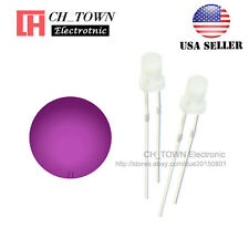 100pcs 3mm Diffused White Color Pink Light Round Top LED Emitting Diodes USA