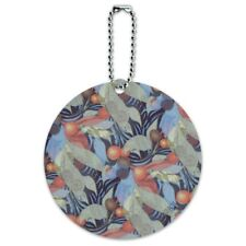 Fruits Leaves and Vines Pattern Round Luggage ID Tag Card Suitcase Carry-On