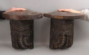Pair Antique 19thC Hand Carved Wood Architectural Fragments/ Corner Shelves