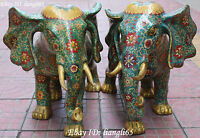 "22"" China Cloisonne Enamel Gilt Fengshui Elephant Elephants Animal Statue Pair"