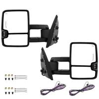 Pair Power Towing Mirrors LED Signal For 07-13 Chevy Silverado 1500 2500 3500HD