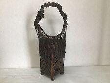 Y1283 Bamboo Woven Basket decor interior Japanese antique ikebana kabin
