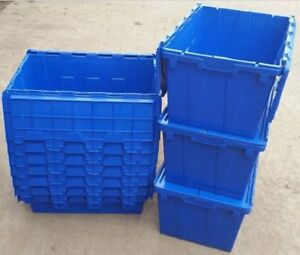 Attached Lidded Crates 600x400x300 Plastic Containers