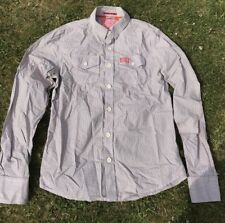 Superdry Men's Shirt - Brown on White Check Orange Detail - X Large - L Sleeve