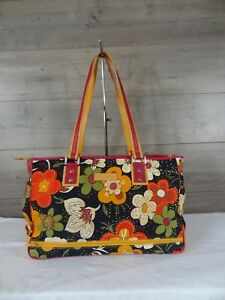 Isabella Fiore Canvas Leather Daisy Days Diaper Bag Tote Shoulder Bag  MSRP $310