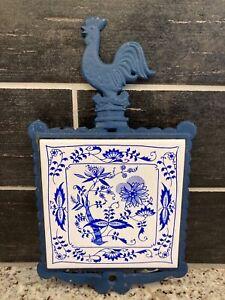 Vtg Trivet Wall Hanging Navy Blue Cast iron Colorful Rooster Rustic Tile