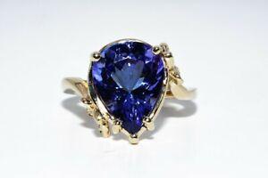 "$4,000 4.89CT NATURAL ""AAA"" TANZANITE & DIAMOND BUTTERFLY RING 14K YELLOW GOLD"