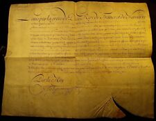 KING LOUIS XV AUTOGRAPH on LARGE PARCHMENT DOCUMENT - 1727