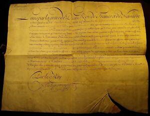 KING LOUIS XV AUTOGRAPH LARGE PARCHMENT DOCUMENT 1727 Louis-Alexandre Bourbon
