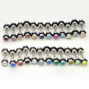 2pcs Round Rhinestone Stainless Steel Dumbbell Stud Earrings Men's Women's Gift