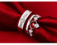 925 Silver Women and Men 2 pcs couples ring set, Wedding Rings Matching Rings