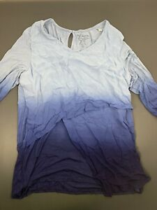 by Chico's Size 1 Two Tone Blue 3/4 Sleeves Tiered Top Shirt Blouse