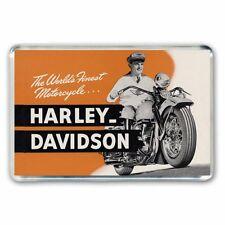 RETRO NOSTALGIA - HARLEY DAVIDSON  MOTORCYCLE ADVERT JUMBO FRIDGE MAGNET