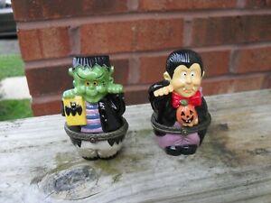 Hinged Porcelain Vampire and Frankenstein Halloween Trinket Boxes