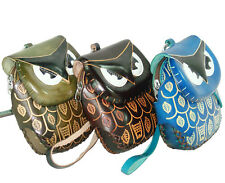 Gift Packet,3 Leather Owl Wristlet,Thick Bottom,Zip Closure, Holiday Special !!