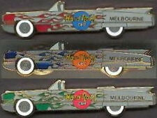 Hard Rock Cafe MELBOURNE 3 CADILLAC Caddy Car PINS with Red, Blue & Green Flames