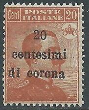 1919 TRENTO E TRIESTE EFFIGIE 20 CENT VARIETà SOPRASTAMPA MNH ** - Z2-5