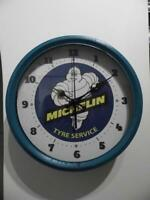 VINTAGE RETRO LARGE METAL ADVERTISING WALL CLOCK MICHELIN TYRE SERVICES GARAGE