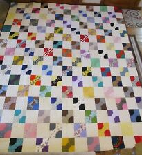 "Usa Made Queen Size Quilt -Bow Tie Patchwork 84"" x 100"" Hand Quilted"