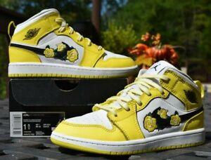Nike Air Jordan Retro 1 Mid SE GS Dynamic Yellow Rose Patch Size ...