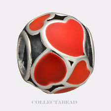 Authentic Pandora Sterling Silver Red Hot Love Enamel Bead 790436ER