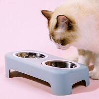 Pet Bowl Water Food Dish Feeder Dog Cat Double Feeding Bowls Stainless Steel