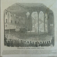 1850's Interior of Castle Garden, NY/Jenny Lind/Giovanni Belletti, VTG Etchings