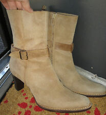 FAB *CoSTUME NATIONAL* Suede Fawn Mid-Rise Boots Straps Sz 39 9